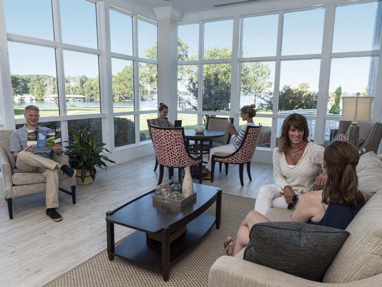 patrons gather in the lobby of lake blackshear resort