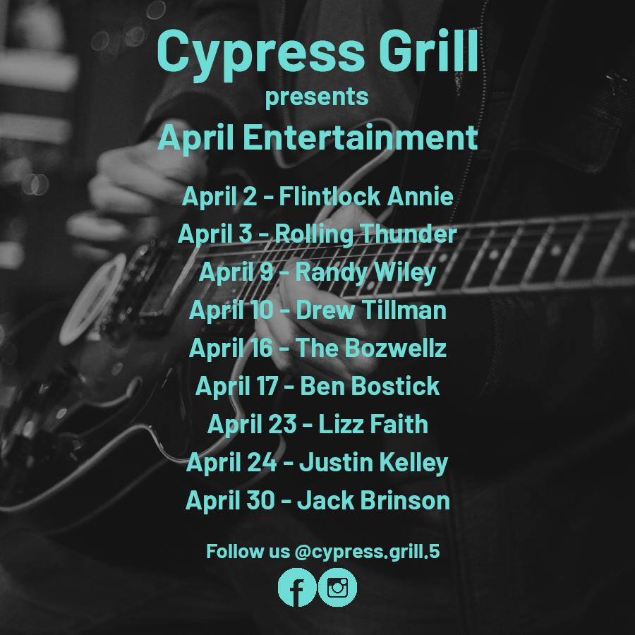CypressGrill AprilLineup